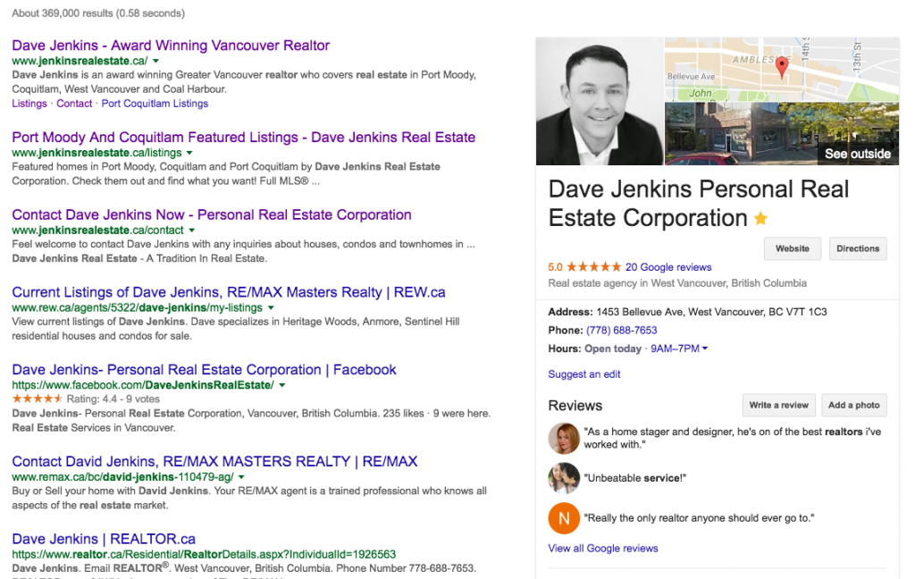 realtor google profile and location on google search results