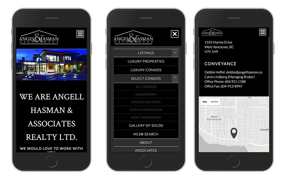 angell hasman mobile website design display