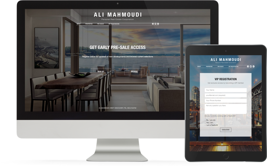 Realtor Branding website design for Ali Mahmoudi