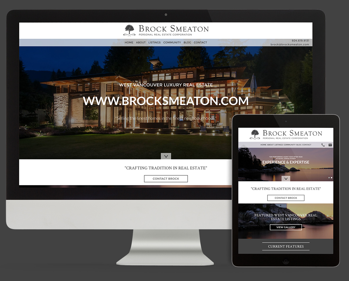 Realtor branding and web design for Brock Smeaton West Vancouver