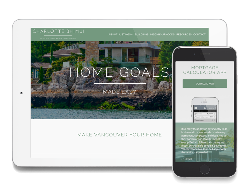 Realtor website design for Charlotte Bhimji mobile and tablet view