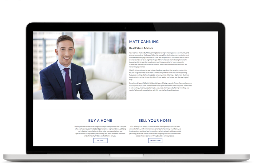 Real estate marketing website design laptop view for Matt Canning, Fraser Valley