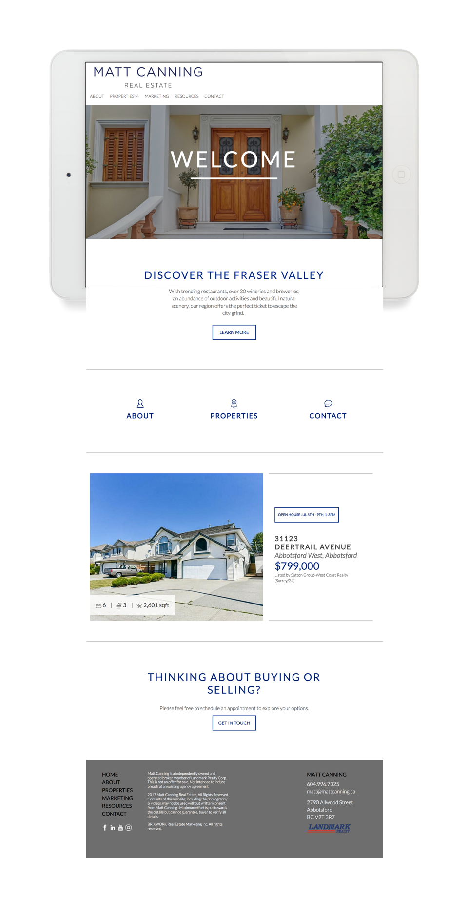 Real estate marketing website design tablet view for Matt Canning, Fraser Valley