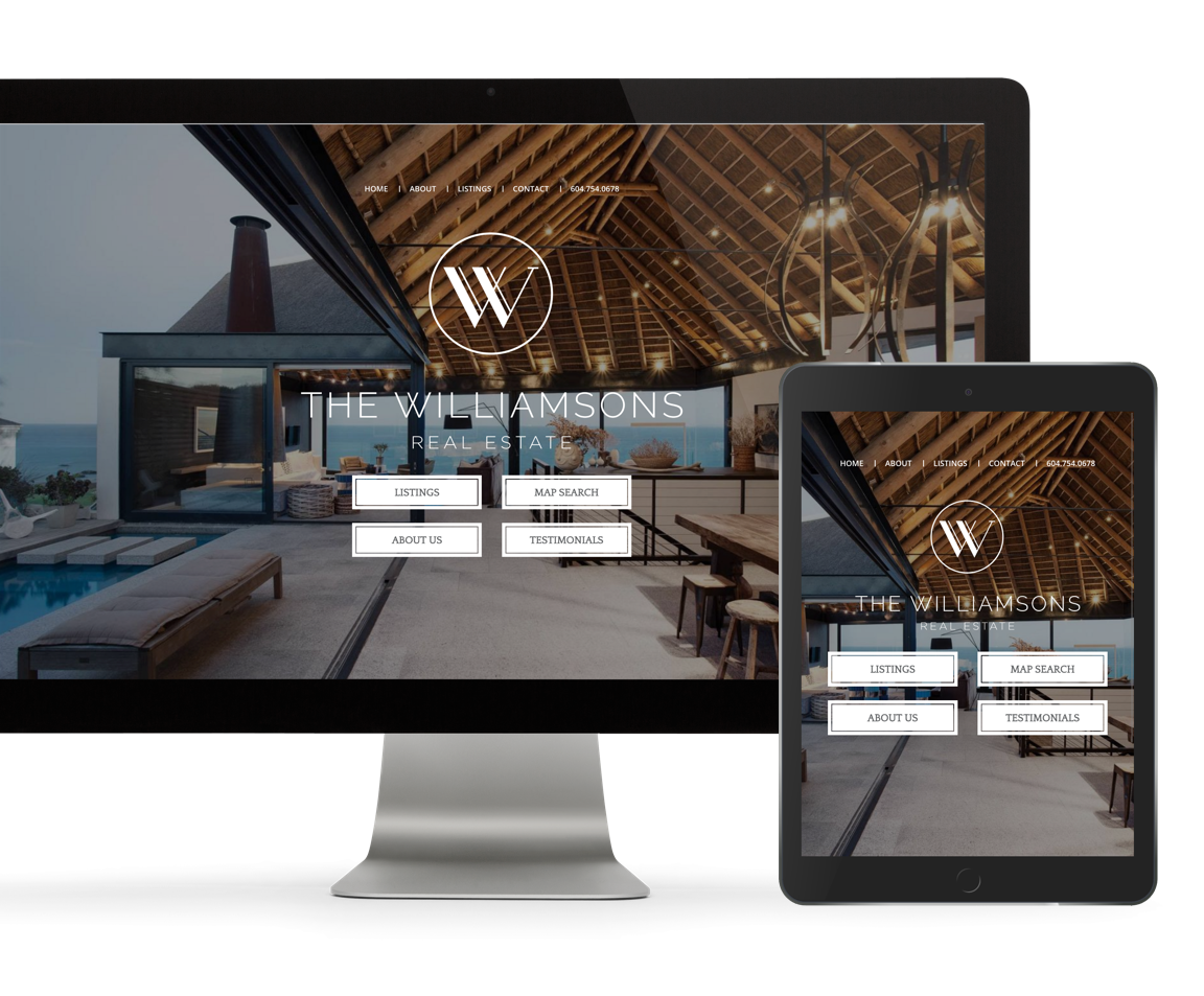 Real estate agent custom web design and branding, The Williamsons showcase