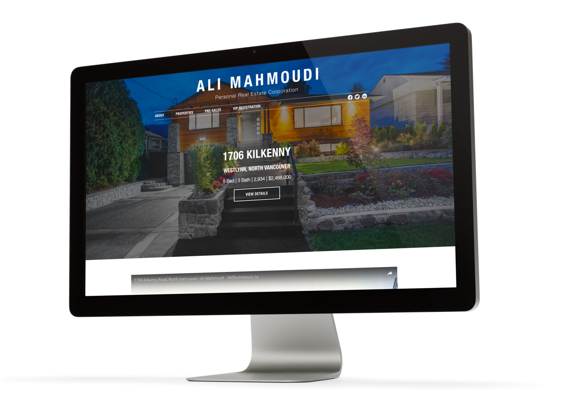 Real estate agent custom web design and branding, Ali Mahmoudi listings page design