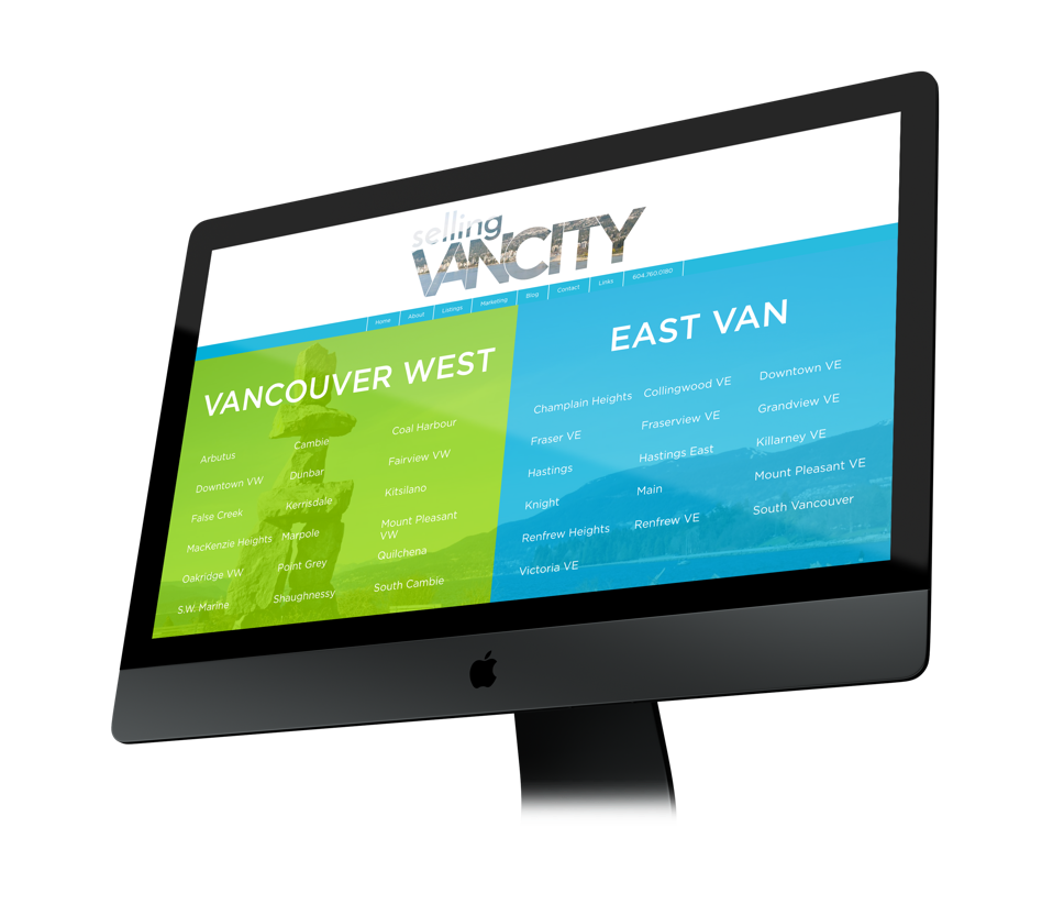 Real estate agent custom web design and branding, Selling Vancity web design