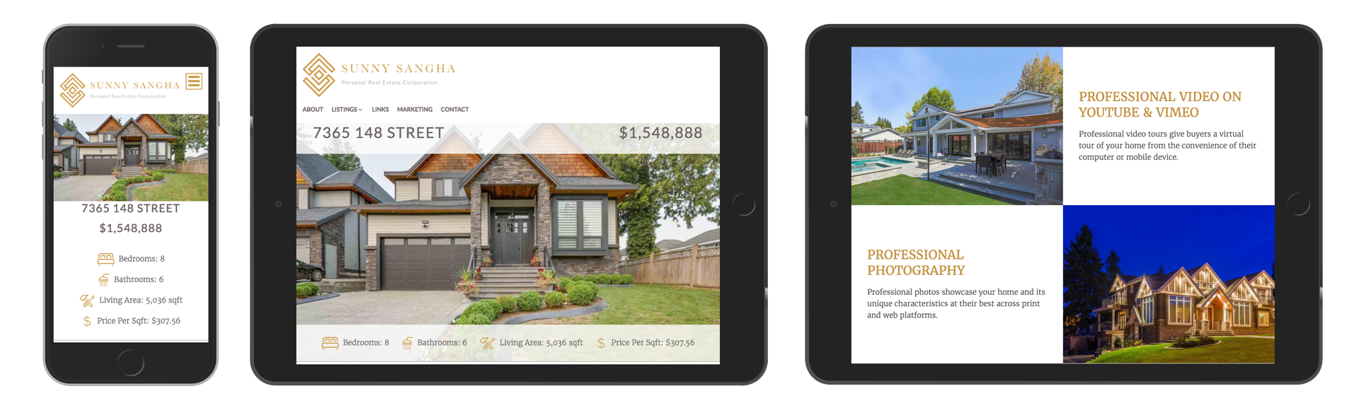 Sunny Sangha Realtor Branding website design mobile and tablet display