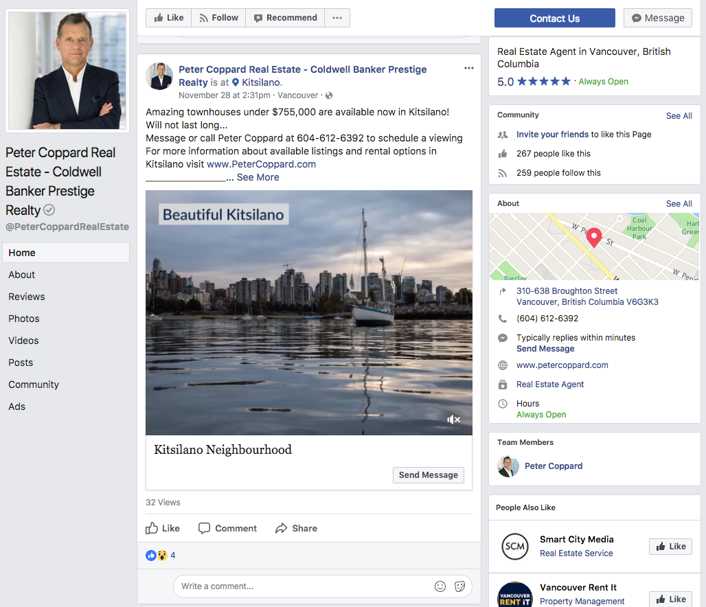 Peter Coppard Real estate facebook account post example