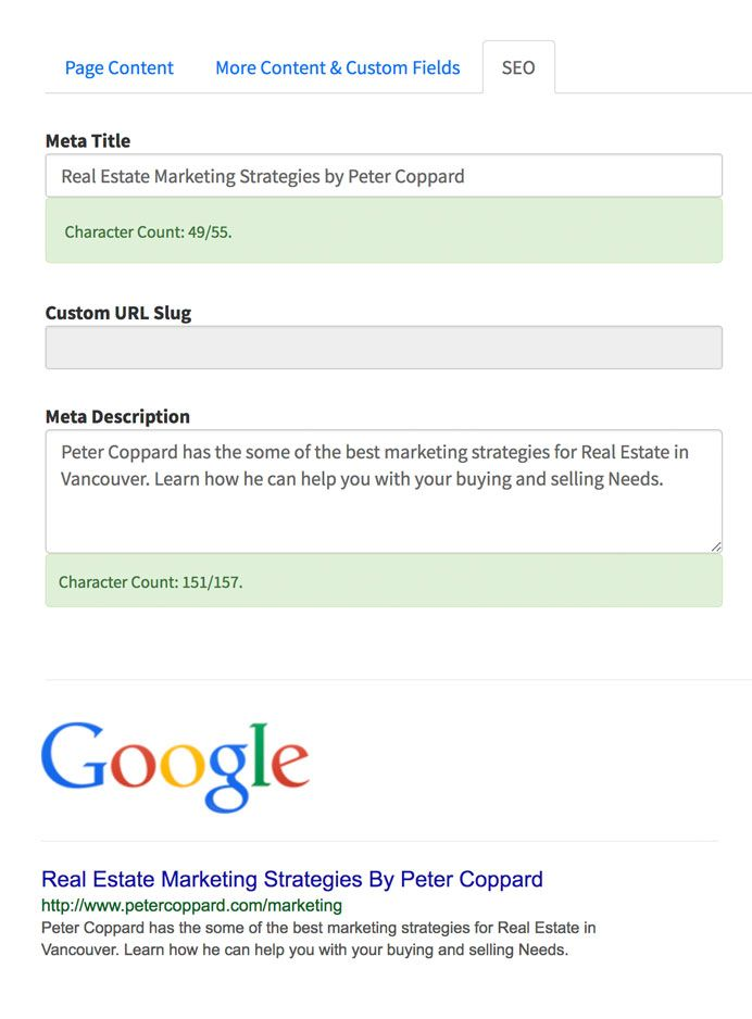 DIY SEO custom meta title and meta description example after
