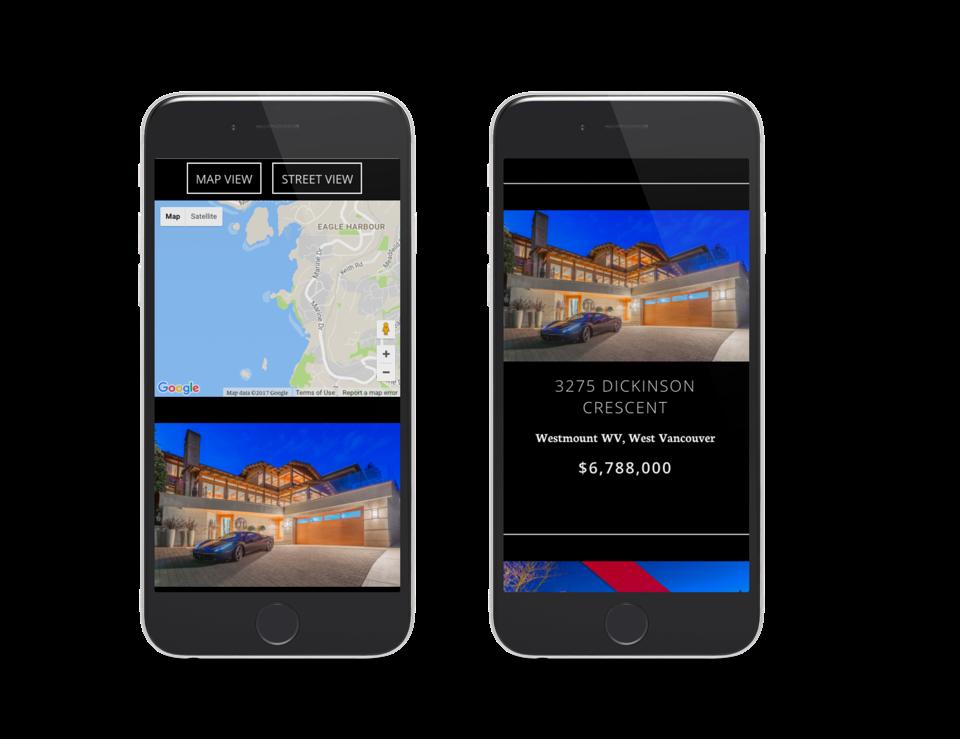 Progressive Vancouver Real Estate Agents Web design and marketing branding - mobile web design display