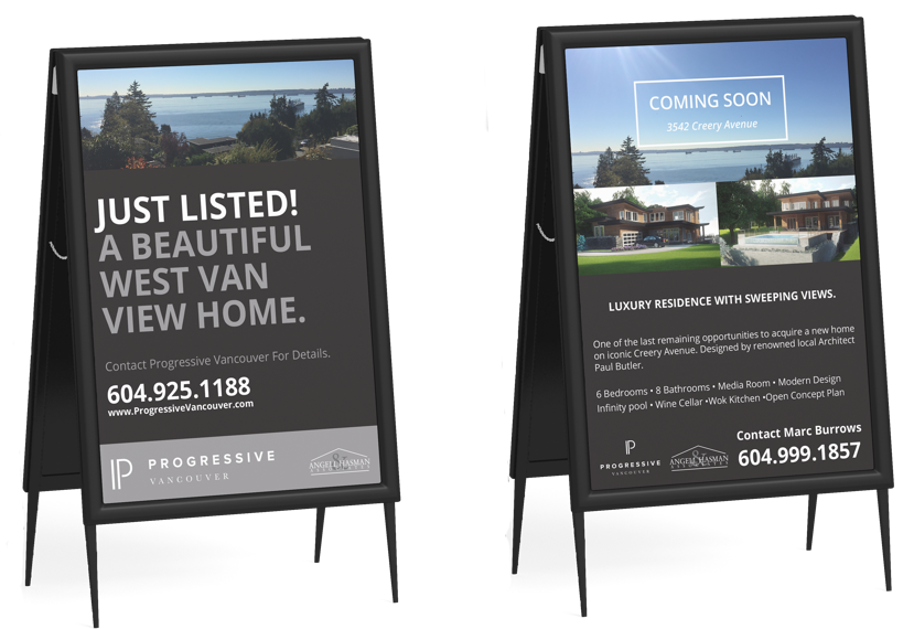 Progressive Vancouver Real Estate Agents Web design and marketing branding - sign design