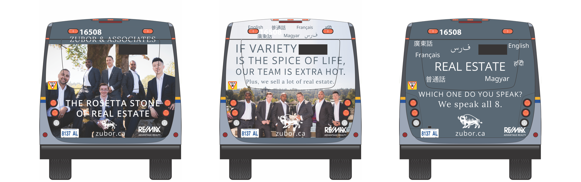 Zubor & Associates Real Estate bus ad design