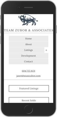 Zubor & Associates Real Estate website design mobile display