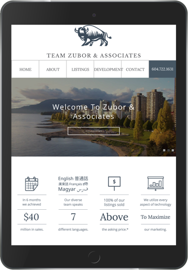 Zubor & Associates Real Estate website design tablet display