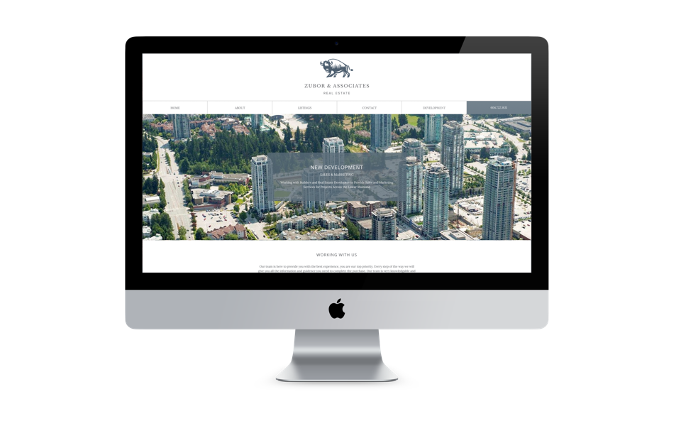 Zubor & Associates Real Estate website design desktop display
