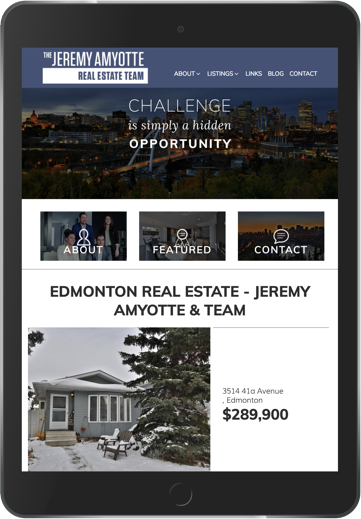 Jeremy Amyotte Real Estate Team Branding and Website Design Brixwork Real Estate Marketing -tablet web design view