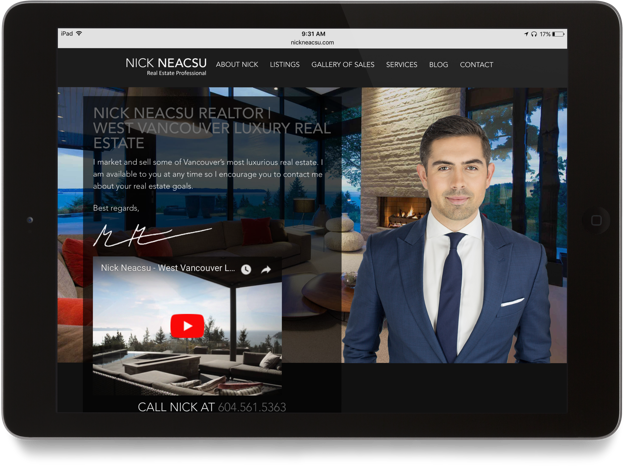 Nick Neacsu real estate agent website tablet design display