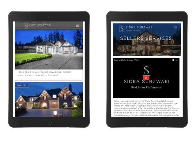 Sidra Subzwari Real estate marketing website design display