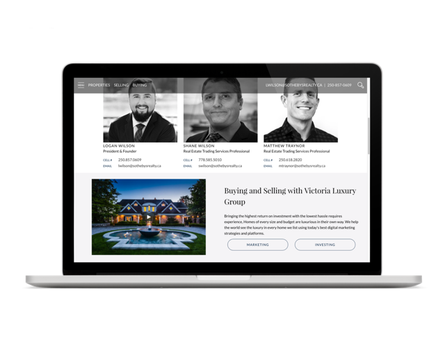 Logan Wilson Victoria Luxury Real Estate Group Website Design Vancouver Island, BC