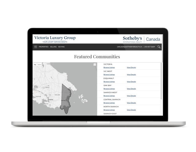 Victoria Luxury Group Vancouver Island real estate community webpage design
