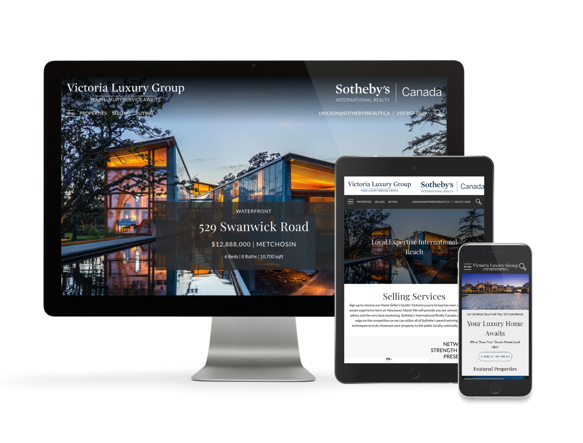 Victoria Luxury Group Victoria Real Estate Website Display