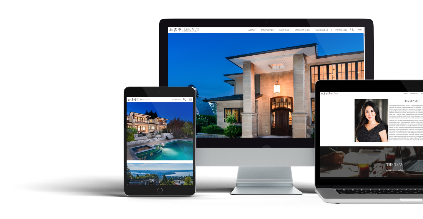 Responsive website design for Lisa Sun, Vancouver Luxury Home Real Estate Agent