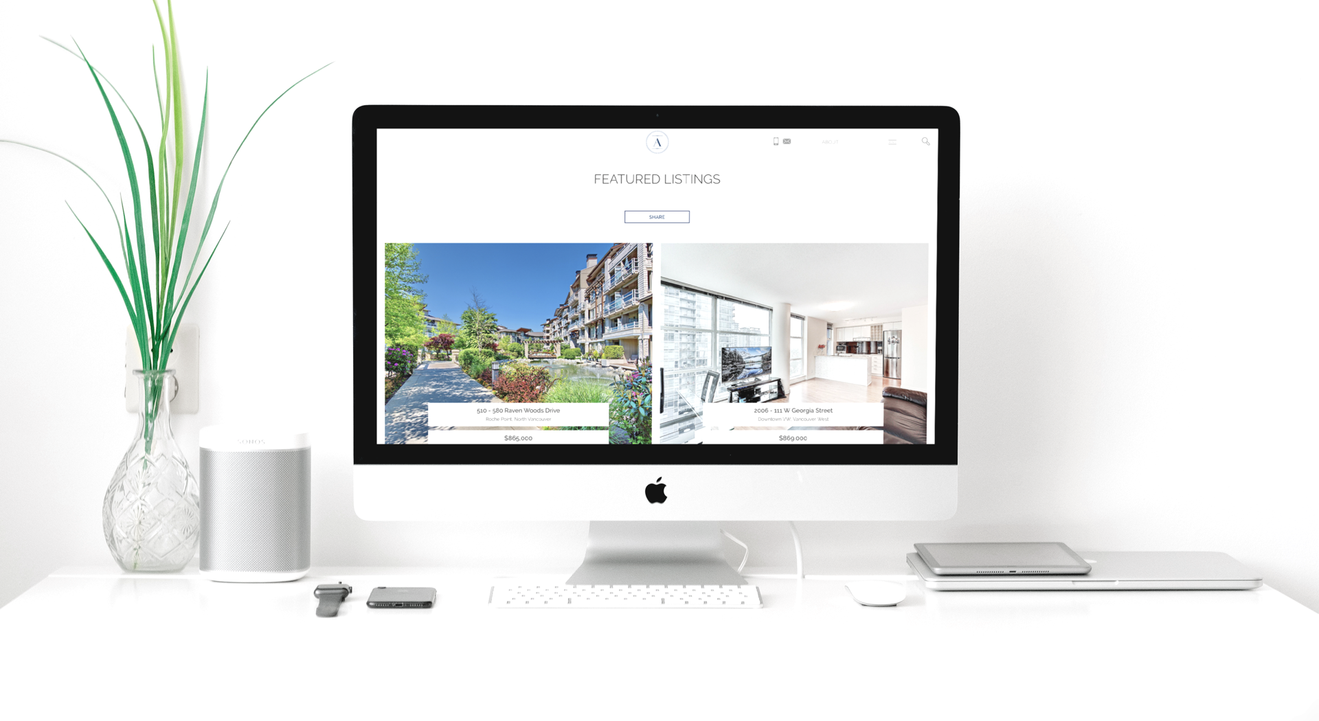 The Arm Group Real Estate Website Design Display
