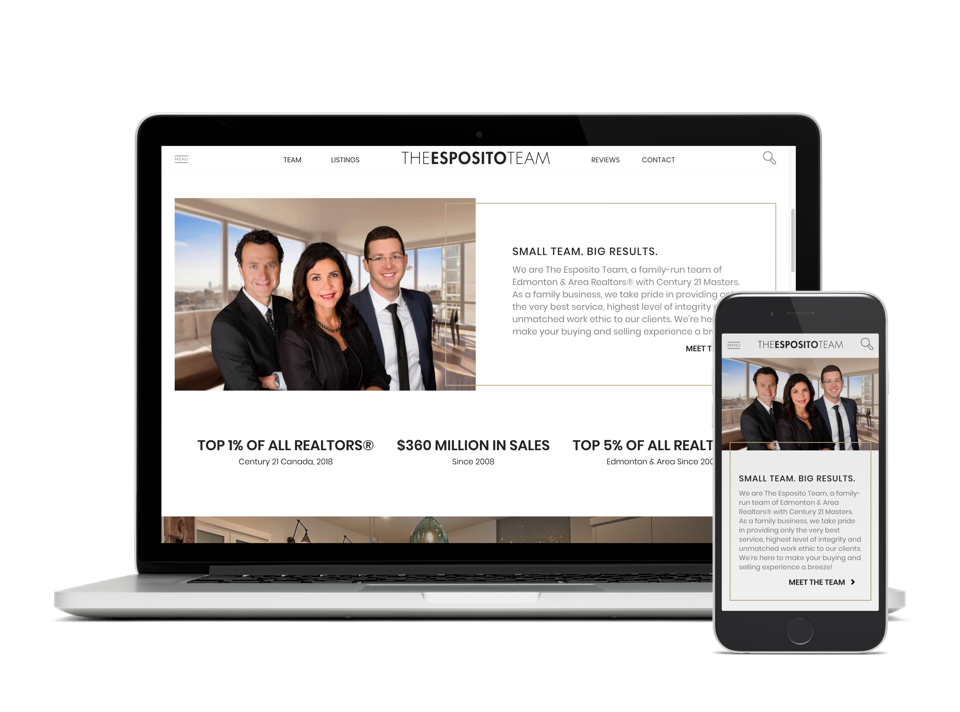 Esposito team laptop view - Edmonton Alberta Real Estate