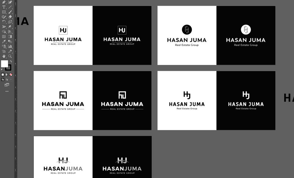 Hasa Juma Real Estate Branding Logo Design Work Process using Illustrator