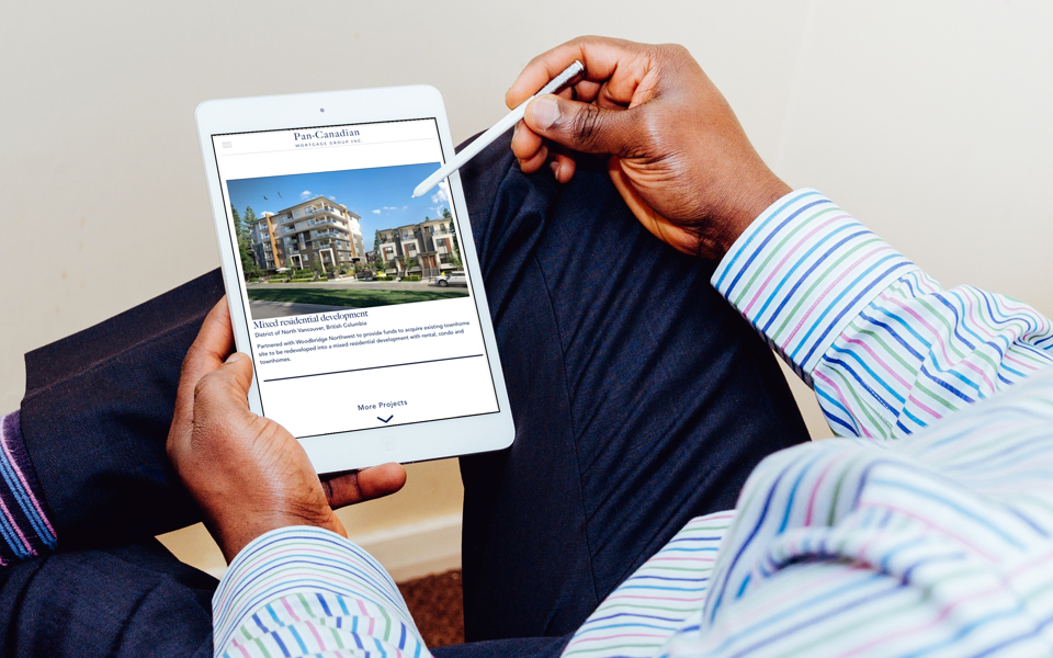 Pan-Canadian mortgage group ipad website design