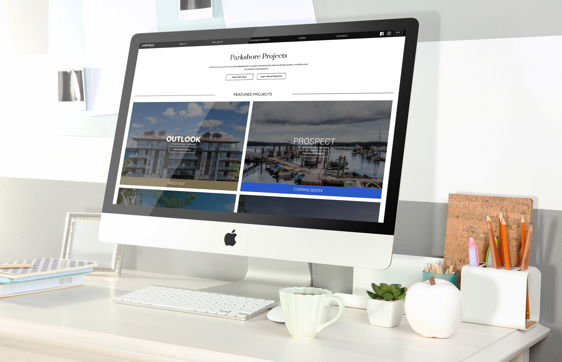 Large iMac Parkshore Projects Mockup Nanaimo Developer