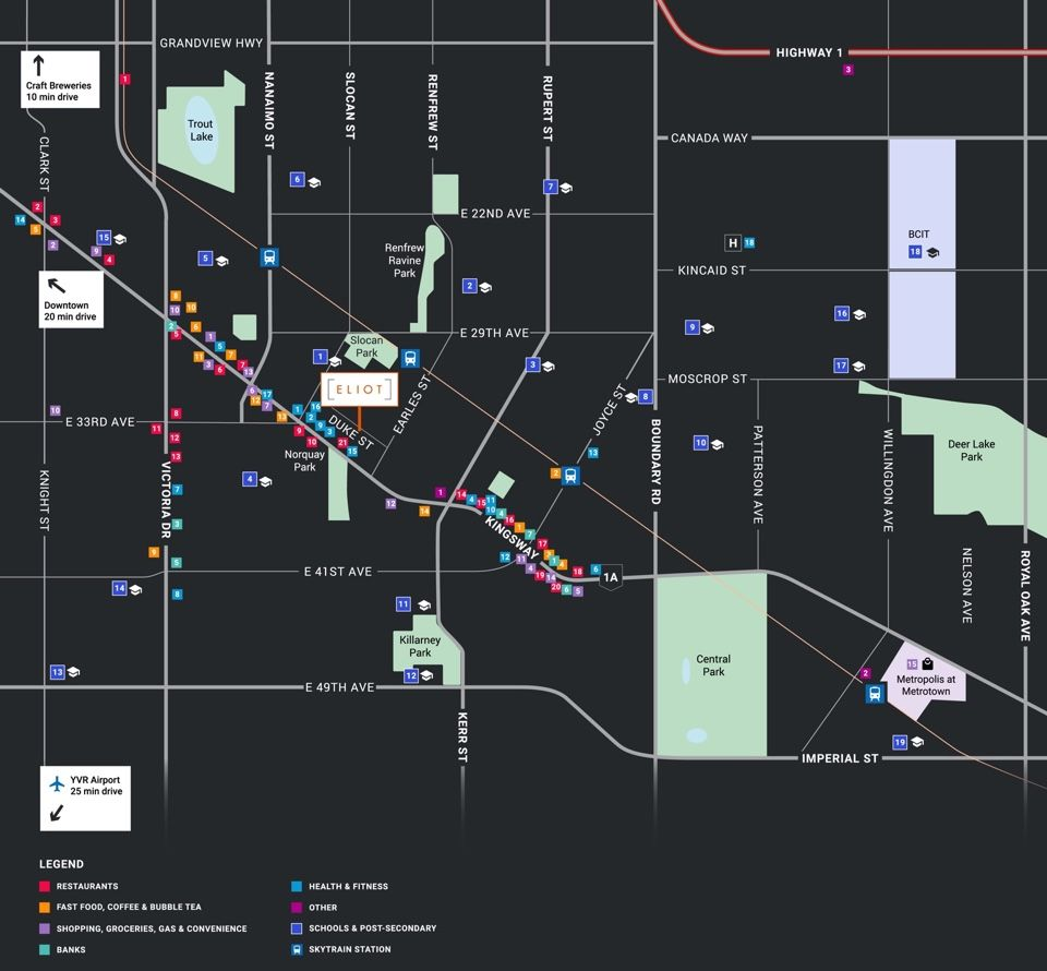 Eliot at Norquay - custom designed and thoroughly researched amenities map for their project marketing material