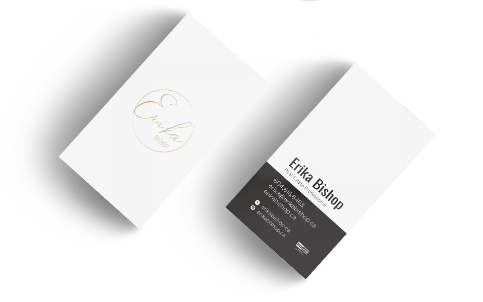 Unique business card design in portrait mode for Erika Bishop Real Estate